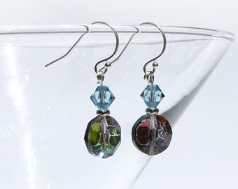 Vintage Multi-Faceted Glass Beads Crystal Beads Sterling Silver Dangle Earrings Limited Edition Black Swarovski Crystals Vitrail Beads