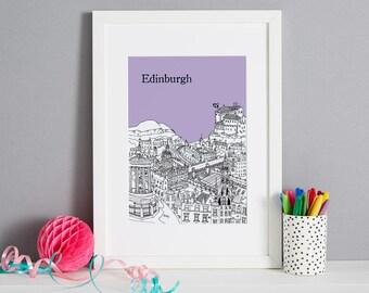 Edinburgh Screen Print | Edinburgh Art | Edinburgh Picture | Christmas Gift | Unique Wedding Gift | First Anniversary Gift | Engagement Gift