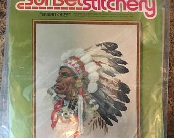 Christmas Sale INDIAN CHIEF 1977 Sunset Stitchery Crewel Embroidery Kit 16x20 Needlework