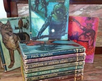 Christmas Sale Vintage 1960s Classic Book Set Childrens Educator Classics Library 11 The Jungle Book, Treasure Island, Arabian Nights