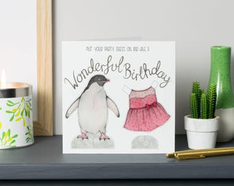 Penguin paper doll birthday card - cut out penguin - animal card - dress up paper doll card - penguin birthday card - watercolour penguin