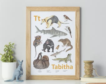 Animal alphabet print - Personalised print - Nursery Art - Children's art print - Personalised animal print - Watercolour painting