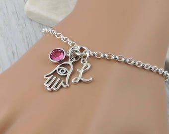 Personalized Hand of Hamsa Bracelet - Sterling Silver Hamsa, Birthstone and Initial Bracelet, Evil Eye