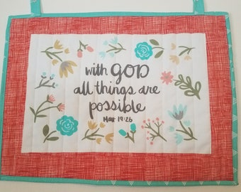 Quilted Wallhanging Matthew 19:26 Psalm Home Decor Gift Teal Orange Flowers