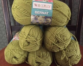 lot of 6 Bernat Waverly soft worsted category 4 yarn CELADON green 3.5 ounces 197 yards acrylic skein knitting crochet discontinued new