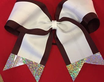 "Maroon and White 7 1/2"" wide cheer bow - Stunning!  School Colors  Glitter Tails"