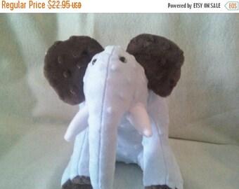 Flash Sale Powder Blue and Chocolate Minky Dot Elephant Soft Toy