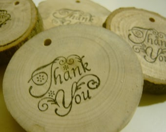 100  Thank You Tags Round Wooden Tree Branch Labels