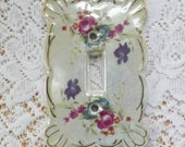 Fancy Vintage Norcrest Japan Pearly Pink Rose Single Switch Plate / Switchplate, Shabby / Chic / Cottage Home Decor,