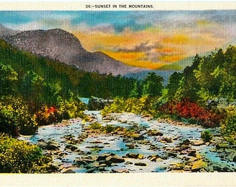 Vintage Postcard - Sunset in the Mountains (Unused)