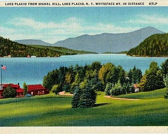 Vintage New York Postcard - Lake Placid and Whiteface Mountain (Unused)