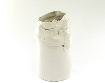 tall hand built wrapped ...  ripped  …  torn porcelain.    modern creamy white ceramic vase