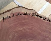 "Large Wood Cake Base, Wood Piece, laser engraved with name, date, pick size 12"" to 20"" diameter centerpiece, cake stand, woodland, barn"