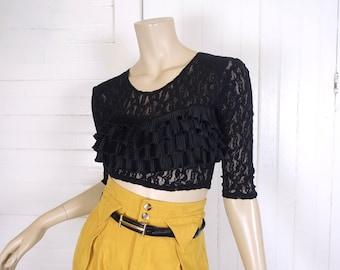 90s Black Lace Crop Top- 1990's Goth Punk Club Kid- Fly Girl- Flamenco Ruffles Blouse- Small- Sheer- Dance Costume