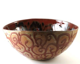 Punch Bowl - Organic Very Large Ceramic Bowl - Decorative Bowl - Serving Piece - Centerpiece - Red and Copper - Wedding Gift - Red Bowl -286