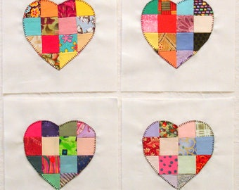 Handmade Scrappy Patchwork Hearts Appliqued Quilt Blocks