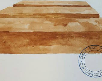 ANTONIO TOCORNAL #340 Unique Viewpoint Boardwalk Pattern of Cubes Blocks Brown Sepia Vintage Watercolor Painting Artist Signed Eclectic Art