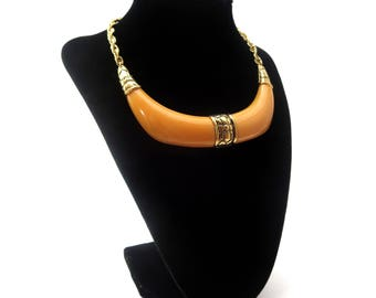 Gorgeous Crown Trifari Signed Gold Tone Metal Embossed Floral / Flower & Butterscotch Colored Lucite / Resin Choker / Collar Necklace