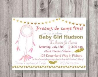 ON SALE Digital Dream Catcher Dreams do Come True Baby Girl Pink & Gold Shower Invitation Printable