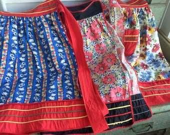 Vintage Half Aprons 1930's/40's Lot 3  Bright Floral Flowers Feed Sack