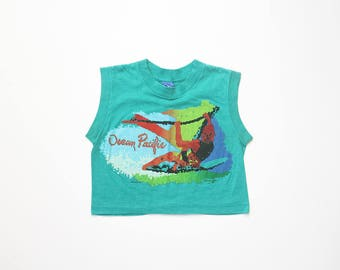 Ocean Pacific Crop Top T-Shirt 80s Vaporwave Surf Tank Tee 1980s Cropped Midriff TShirt 1990s Athleisure Sport 90s Soft Grunge Oldschool XS