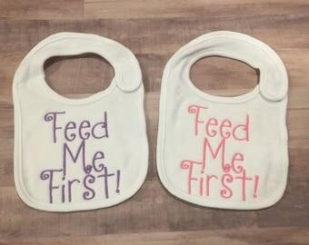 Feed Me First Twin Bib Set