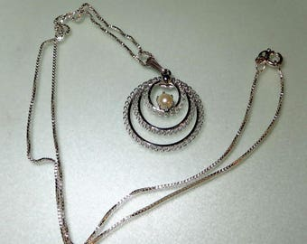 Vintage Sterling Necklace Pearl Necklace Signed W & L 925 Silver Chain Round Pendant
