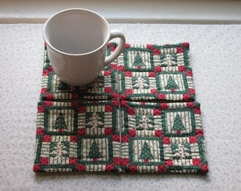 country christmas blocks hand quilted set of mug rugs coasters