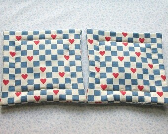 blue and white checks with hearts vintage fabric hand quilted set of set of 2 potholders hot pads