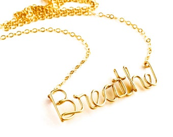 Breathe Necklace. Yoga Gold Breathe Necklace. 14k gold filled Breathe Necklace by AzizaJewelry