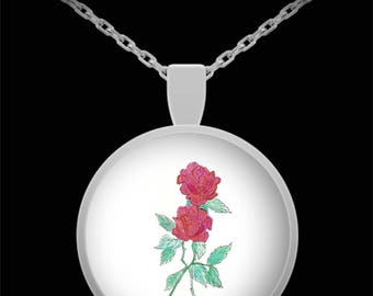 Two Roses Pendant Necklace - Wearable art - Floral gift - Gift for her