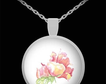 Watercolor Roses Pendant Necklace - Wearable Art - Floral gift for her