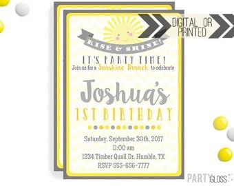 Sunshine Birthday Invitation | Digital or Printed |  Breakfast Party | Brunch Birthday Invite |  Boy Sunshine Invite | Brunch Birthday Party