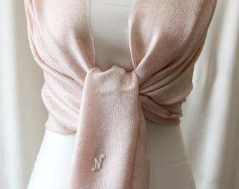 Pale pink paisley pashmina bridal shawl, scarf, bridesmaid wrap, monogrammed gifts