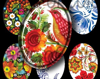 Russian Style - 90  18x25 mm Oval  JPG images - Digital  Collage Sheet