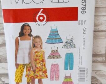 Children's/Girls' Tops, Dresses & Capri Pants - McCall's M5796 Pattern - UNCUT x Size CHJ 7-8-10-12-14