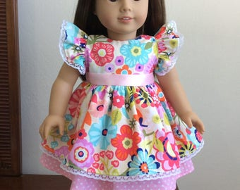 "Adorable floral dress set for 18"" American Girl doll"