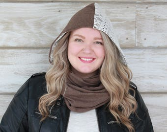 Hood Scarf, Lace Scarf, Brown Scarves, Womens Scarves, Winter Scarf, Hooded Scarves, Hoodie Scarf, Knit Scarves, Womens Knit, Heidi Hood