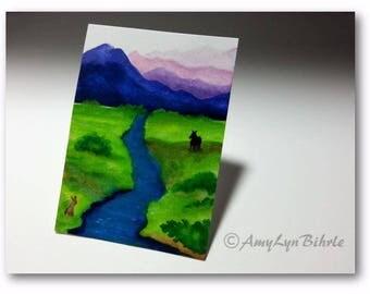 WildlifeWonder Rabbit - Landscape Wild Horse- Original ACEO Painting wd261