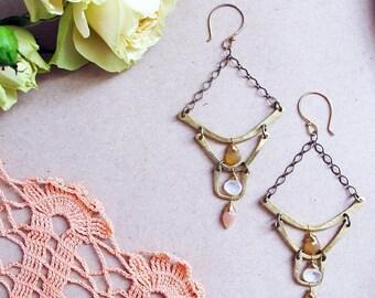 ON SALE Intuitive Steps Earrings - Moonstone, Peach Moonstone, and Chalcedony Stone Earrings - Lightweight Chandelier Earrings
