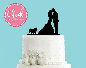Couple Kissing with Bulldog Acrylic Wedding Cake Topper
