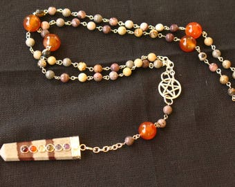 Shiva Lingam Chakra Pagan Rosary~Crazy Horse Stone and Red Agate
