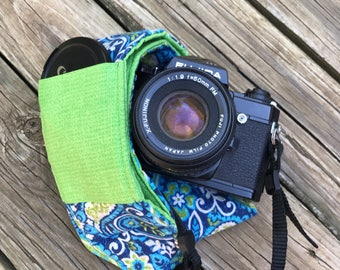 Monograming Included Wide Camera Strap for DSL camera in Navy Paisley With Bright Green Reverse and Lens Cap Pocket