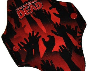 Liner Core- Walking Dead Red Hands Reusable Cloth Mini Pad- WindPro 7.5 Inches (19 cm)