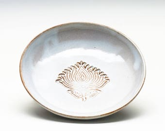 Cloudy White Lotus Dish/Jewelry Bowl/ Candy Dish/ Key and Coin Dish