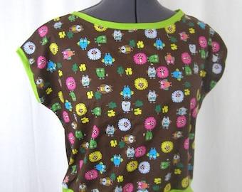 T-shirt Yuki OWL Brown and green