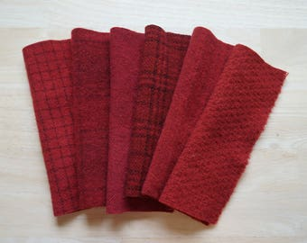 Rustic Red - Hand Dyed Felted Wool Fabrics Perfect for Rug Hooking, Quilting, Applique, and Sewing by Quilting Acres