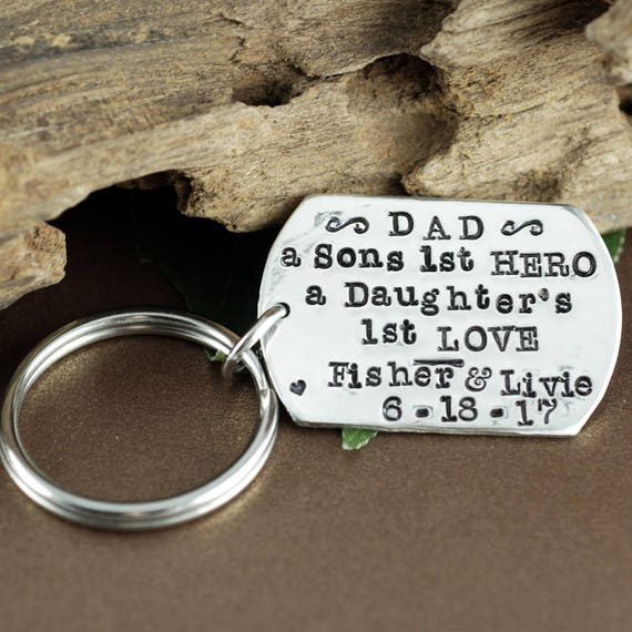 A son's First Hero, Fathers Keychain, from Daughter, Father's Day Keychain, Gift for Dad, Daddy Keychains, Gift for Men, Custom Keychain