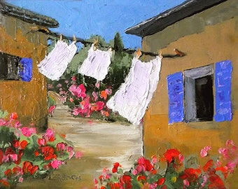 Impressionist Painting Lynne French PROVENCE Plein Air Landscape COURTYARD Garden LAUNDRY 11x14