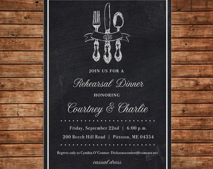 Invitation Silverware Monogram Chalkboard Elegant Dinner Shower - Can personalize colors /wording - Printable File or Printed Cards